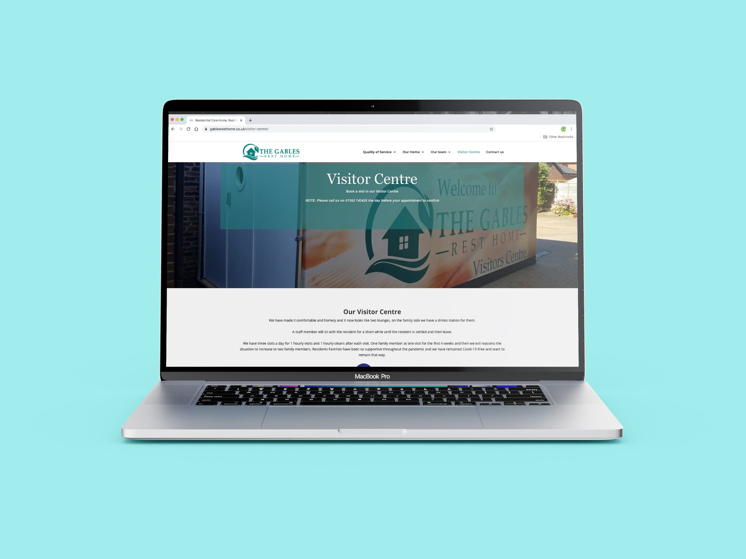 The Gables Rest Home project, website design and branding
